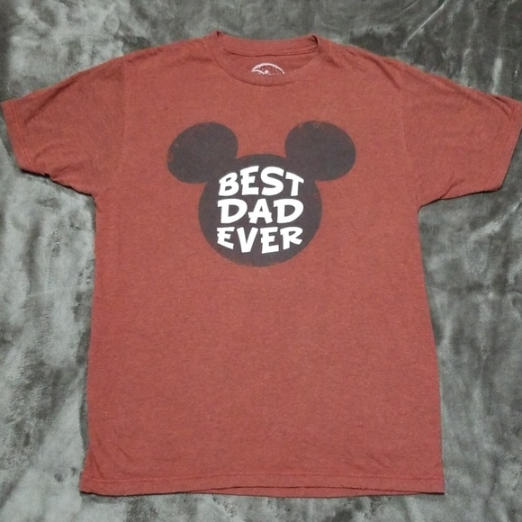 Disney Mens T Shirt Graphic Tee Best Dad Ever Mickey Mouse Short Sleeve